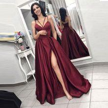 Платье для свадьбы JaneVini, длинное, сатиновое, бордовое, с карманами, на тонких бретельках(Китай)