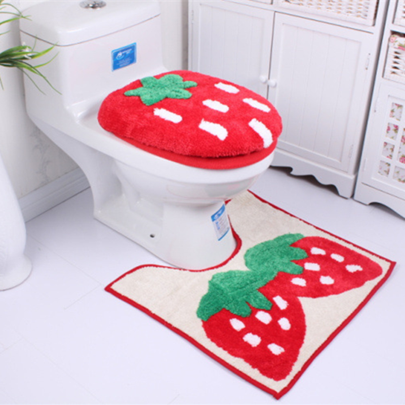 Free Shipping Red Strawberry Mat 3pc Suite Padded Toilet