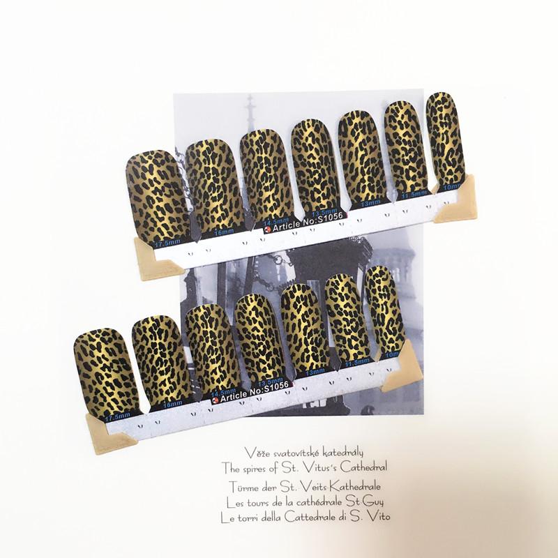 Brown Leopard Sexy Nail Arts Sticker 14 pcs set Waterproof Nail Decal Art Sticker Gel