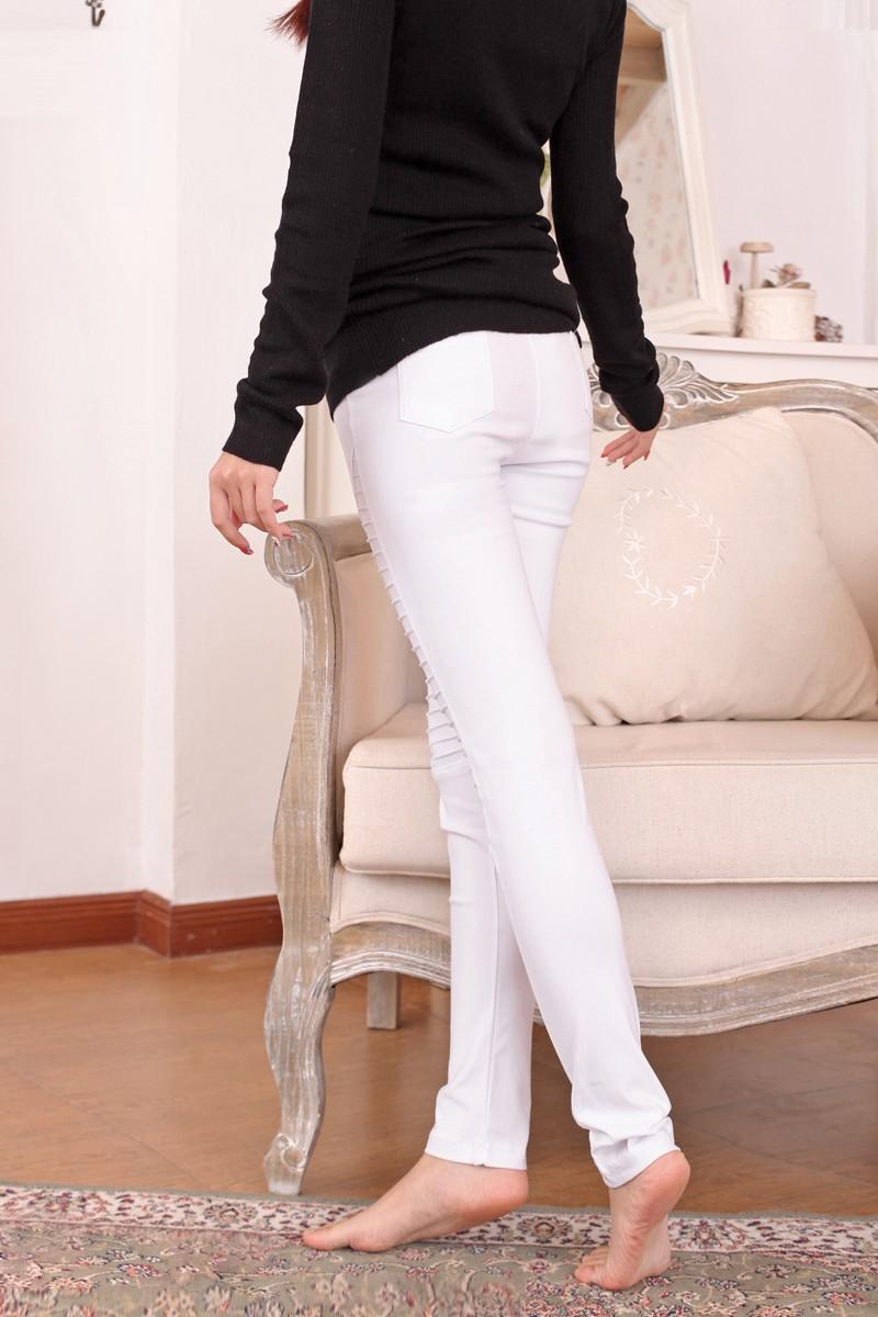 Женщины раза брюки-карандаш узкие брюки белый приталенный Fit брюки прорезиненная тесьма женское брюки XXL