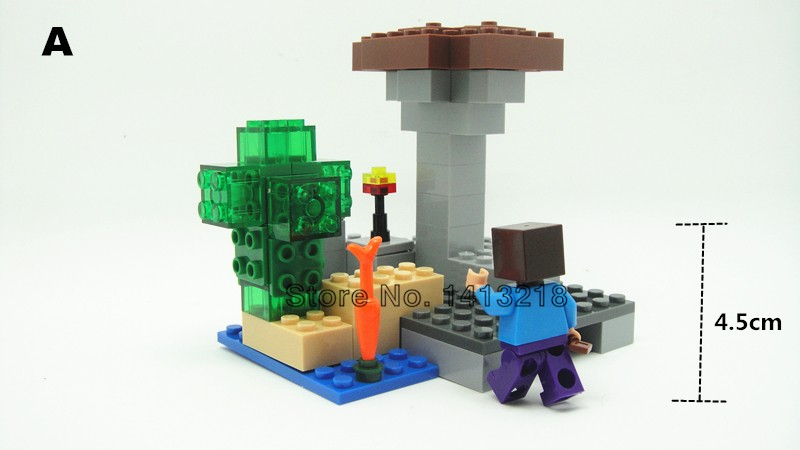 322 Pcs MY World legoelieds 4in1 steve zombie skeleton enderman minecraft  building Blocks optional unique field Boys Toys items