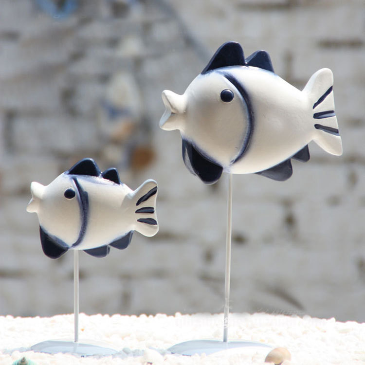 Mediterranean, modern fashion, living room, table decoration, statue, crafts, <font><b>home</b></font> <font><b>decor</b></font>, wooden pair of fish, wedding gifts