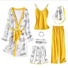 Весенне-летняя новая пижама из 7 предметов, сексуальный женский пижамный комплект, одежда для дома, Ночной костюм, шелковые женские пижамы, о...(Китай)