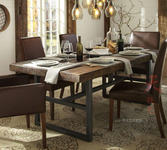 Wooden Dining Room Table: European Style Wrought Iron Table And Chairs Rectangular