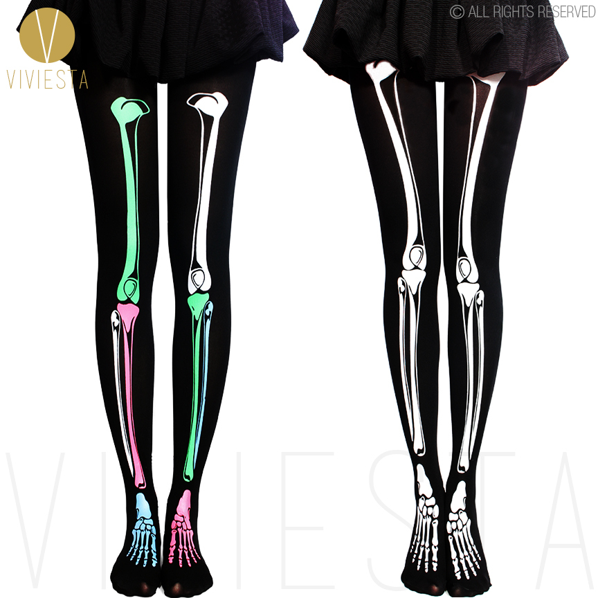 Shop Our Entire Collection of Graphic Print Leggings Only Leggings just loves skeleton leggings and our Female Skeleton Leggings is another sexy style that delivers the on trend X-ray design in a neon and authentic style skeleton design.