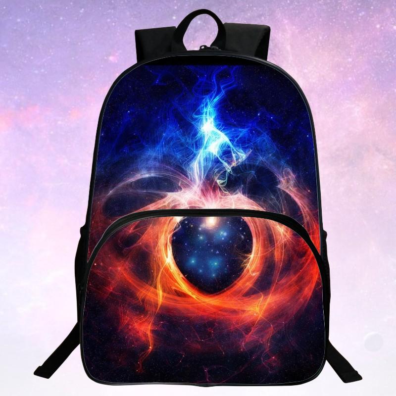 Cool 2016 Polyester 100% Printing Starry Sky Black Men School Bag Girls Mochila Kids School Backpacks For Teenagers