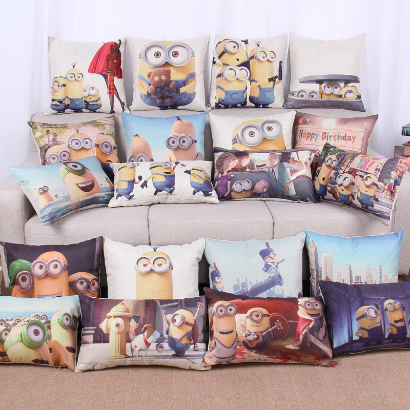 45cm Yellow Eye Cartoon Fashion Cotton Linen Fabric Waist Pillow Hot Sale 18 Inch New Home Decor Sofa Car Cushion Office Nap HL