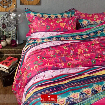 new classsic casa boho ensemble de literie 100 coton rouge turquoise floral couette housse de. Black Bedroom Furniture Sets. Home Design Ideas