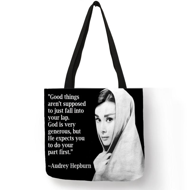Уникальная сумка-тоут на заказ, эко льняные сумки с принтом Одри Хепберн, многоразовые сумки для покупок, модные сумки для женщин(Китай)