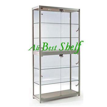 2014 dur e de la production gros pas cher boutique vitrine de verre en aluminium argent vitrine. Black Bedroom Furniture Sets. Home Design Ideas