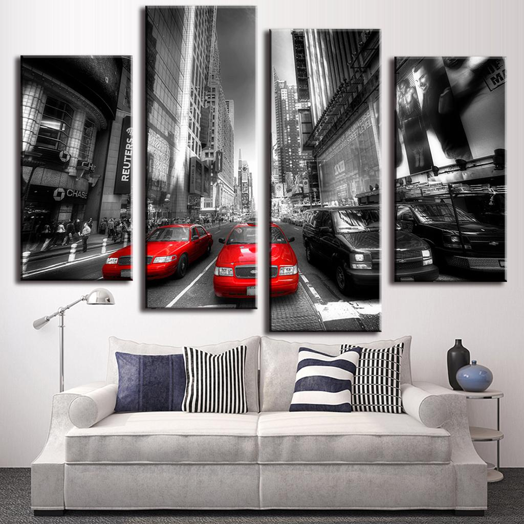 New York City Picture Canvas Painting Modern Wall Art: 4-Pcs-Set-New-Arrival-Modern-Wall-Painting-Canvas-Wall-Art
