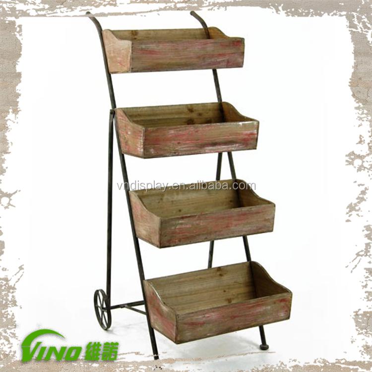 tiempo de madera muebles de madera rstica pantalla estantes de madera de la vendimia carretilla with muebles de bao de madera rusticos
