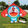 free shipping high quality children kite Doraemon10pcs lot with handle line cheap kite fabric ripstop kite