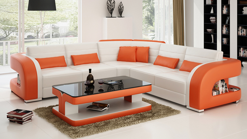 l shape modern sectional sofa in living room sofas from. Black Bedroom Furniture Sets. Home Design Ideas