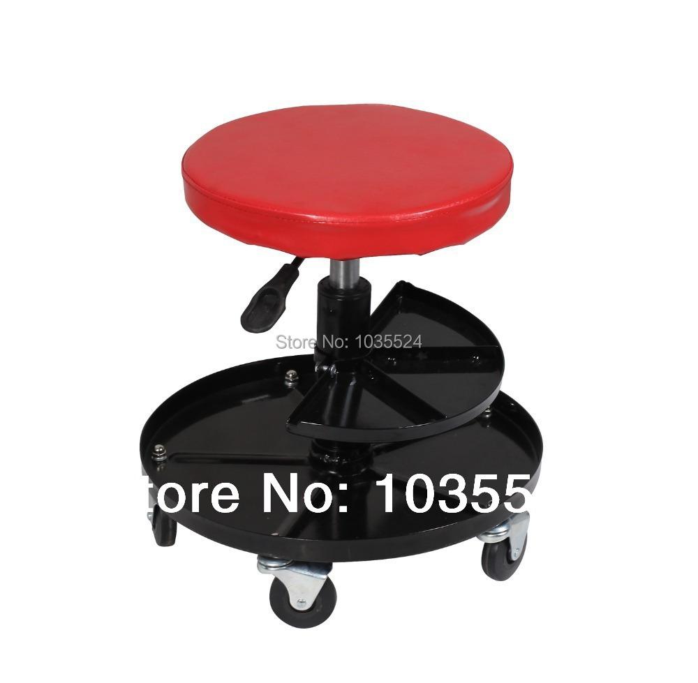 mechanics adjustable pneumatic work shop stool roller seat chair with wheels on. Black Bedroom Furniture Sets. Home Design Ideas