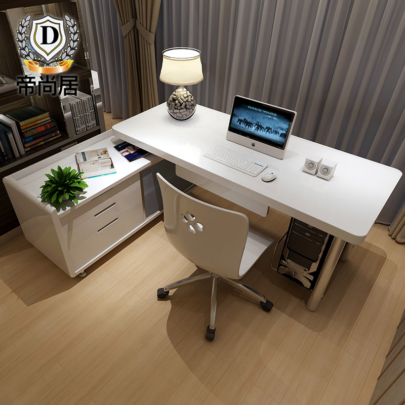 Simple Desktop Computer Desk Home Office Table, Bookcase