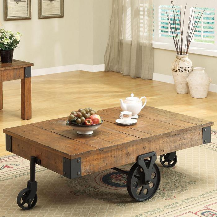 Wheels Photos Distressed Wood Country Wagon Coffee Table With Wheels1 Jpg