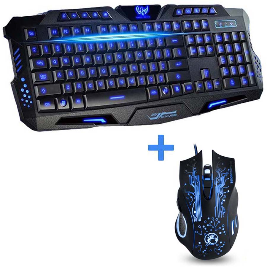 best 3 color backlit wired laptop pc computer pro gaming keyboard mouse combo professional 7. Black Bedroom Furniture Sets. Home Design Ideas