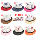 10pcs lot 8 Colors 2014 Print Baby Boys Girl Straw Fedora Hat Summer Caps Kids Sunhat