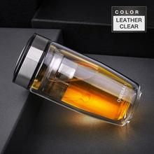 Двойная бутылка для воды, автомобильная Защитная Высококачественная стеклянная бутылка с фильтром из нержавеющей стали 304, Чайный фильтр + ...(Китай)
