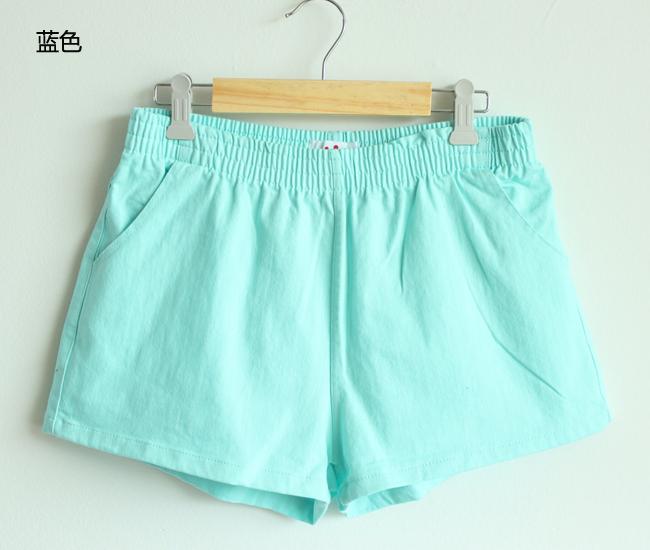 Лето конфеты цвета шорты женщины бельевой хлопок без тары резина шорты девочка каваи розовый / голубой / зеленый / желтый / черный