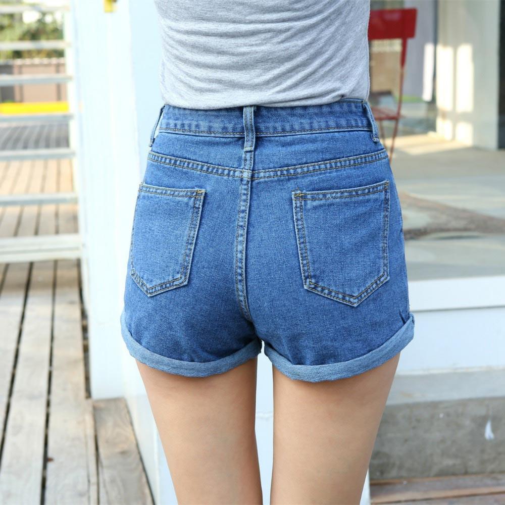 Frauen Sexy Ripped Denim Shorts Ladiescasual Mid Taille Manschette Jeans Shorts Sommer Frühling Herbst Plus Größe Shorts Shorts