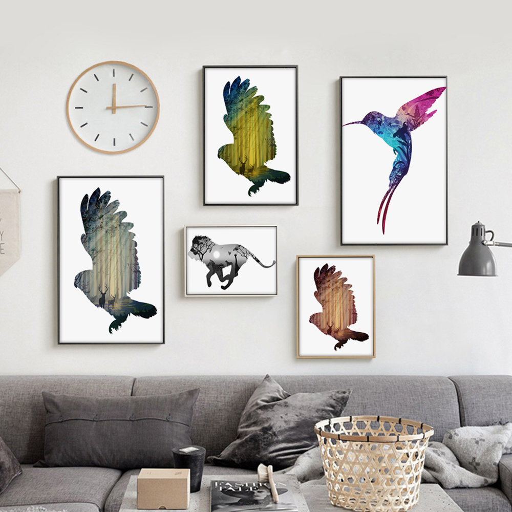 clip painting modern living canvas animal shadow a4 mural poster animated wanelo