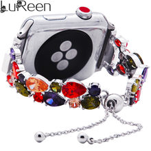 LuReen Ice-out ремешок для часов iWatch для женщин и мужчин, 3 слоя, регулируемый ремешок для часов, браслет для Apple Watch(Китай)