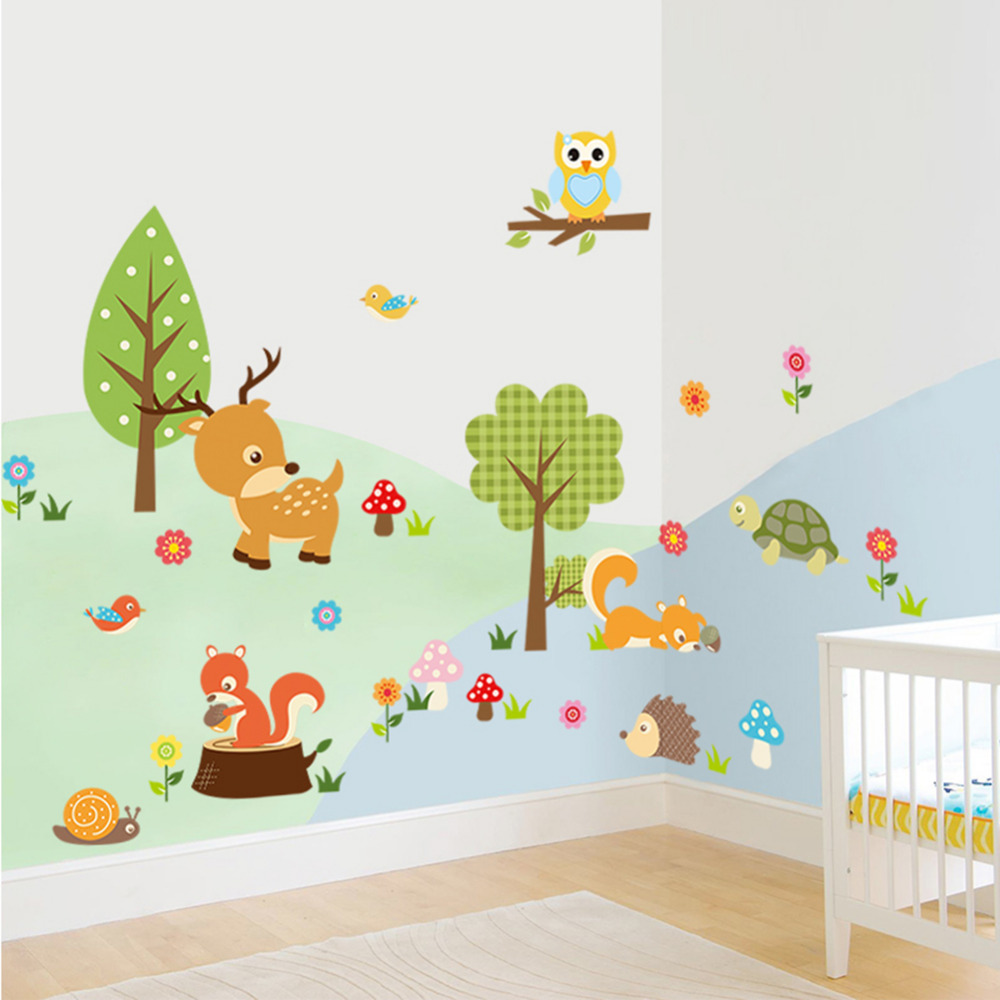 cute animals wall sticker zoo tiger owl turtle tree forest vinyl art wall quote stickers. Black Bedroom Furniture Sets. Home Design Ideas
