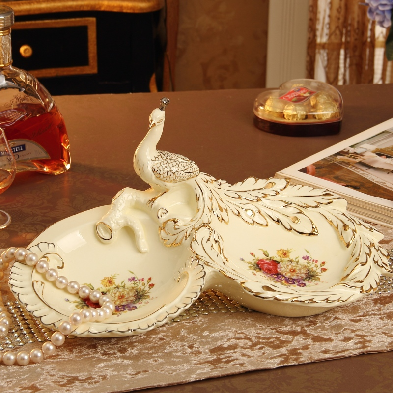 Graphic Tray Handcrafted From Ivory And: Luxury Palace Ivory Porcelain Peahen Sculpture Decorative