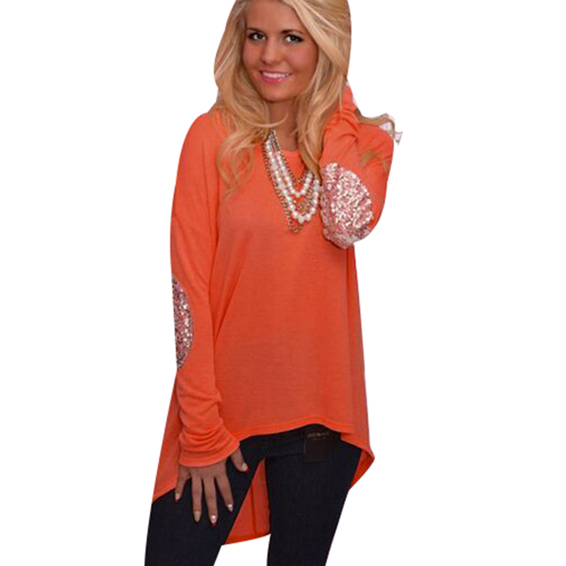 S-xxl женщины с длинным рукавом широкий оранжевый блузка рубашка блеск лоскутное свободного покроя пуловер толстовка вершины Blusas Femininas 8800с