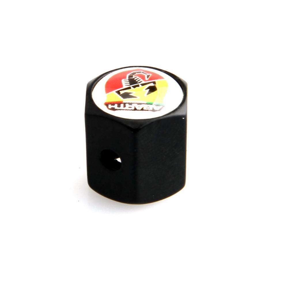 Бесплатная доставка 4 Pces черный блокировка колес автомобиля шины клапан шин клапана воздушный клапан Fiat Abarth с эмблемы автомобиля