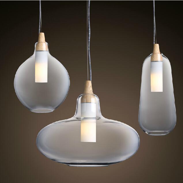 modern glass pendant light natural curved transparent pendant lamp wooden lamp head hanging. Black Bedroom Furniture Sets. Home Design Ideas