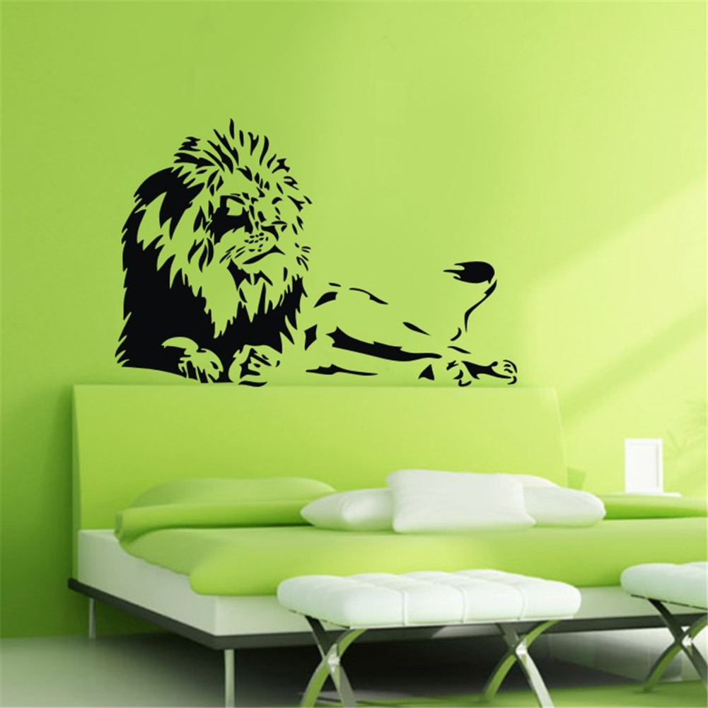 2015 new design detroit lions lion vinyl wall decals home art stickers feitong home decor hee. Black Bedroom Furniture Sets. Home Design Ideas