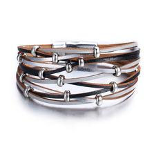 Винтажный Многослойный кожаный браслет 26 дизайнов для женщин и мужчин, новые жемчужные браслеты с бусинами, женские модные украшения, 2019(Китай)