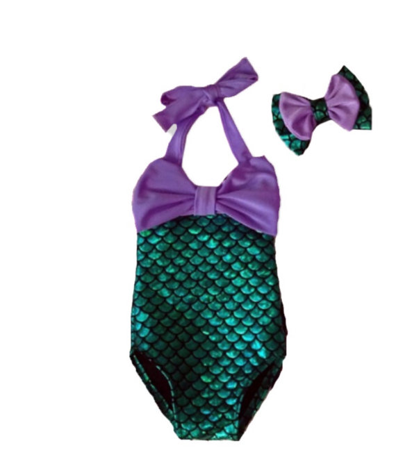 56a0cfe89b7 2019 Wholesale 2016 Cute BABY Girls Mermaid Green Bikini Suit ...