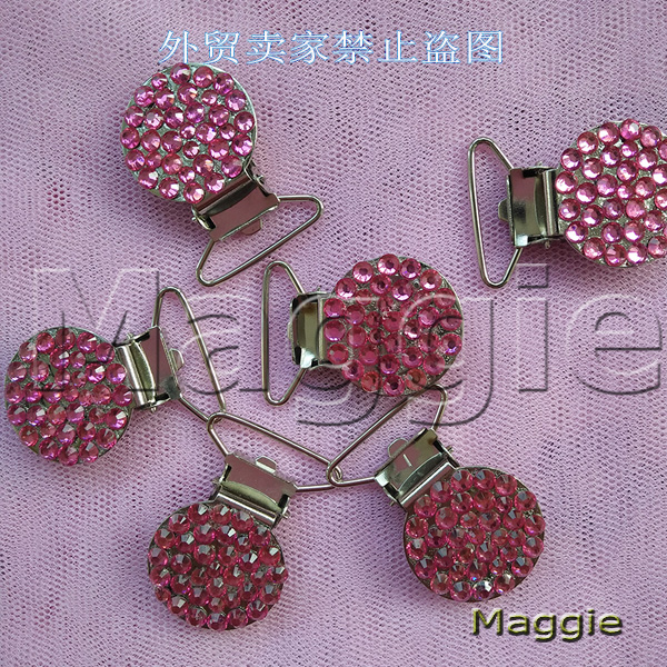 Free Shipping 6Pcs Bling pink rhinestone crystal pacifier Duckbill clips Dummy clip holder Teethers clip baby