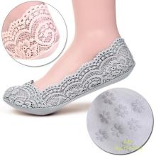 Fashion Women's Cotton Lace Antiskid Invisible Liner Low Cut Socks 2K8G