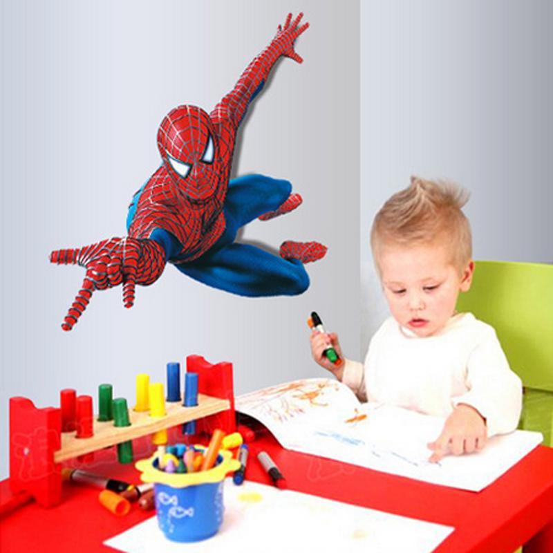 handsome Spiderman Stickers Peel and Stick for Children Boys Kids room Superman Super Hero Sticker