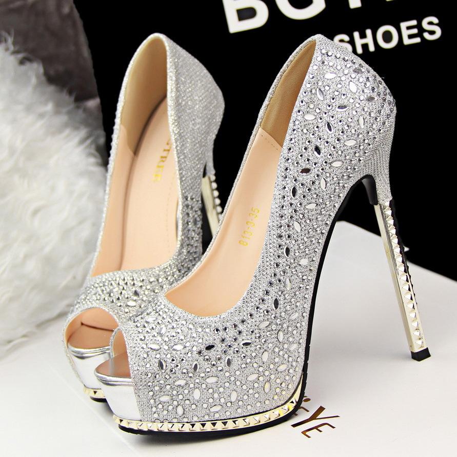 111000666ea8 Shiny Silver High Heels