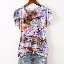 Черная футболка с цветочным принтом, женская футболка 2020 5XL 4XL с коротким рукавом и круглым вырезом, тонкая летняя футболка, прикольная футбо...(China)