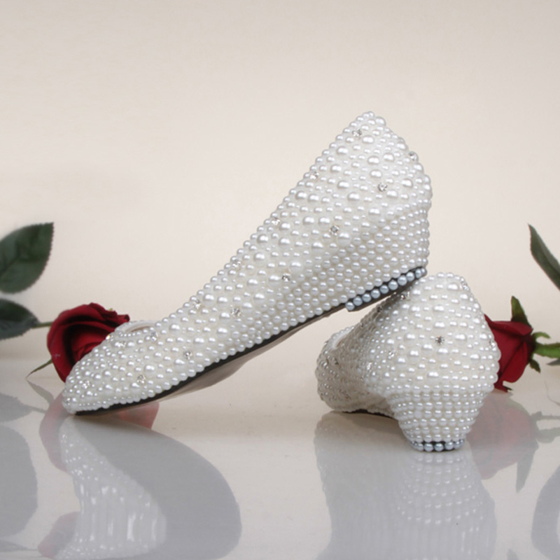 Bridesmaid Shoes White Ivory Pearl Wedding Shoes Fashion