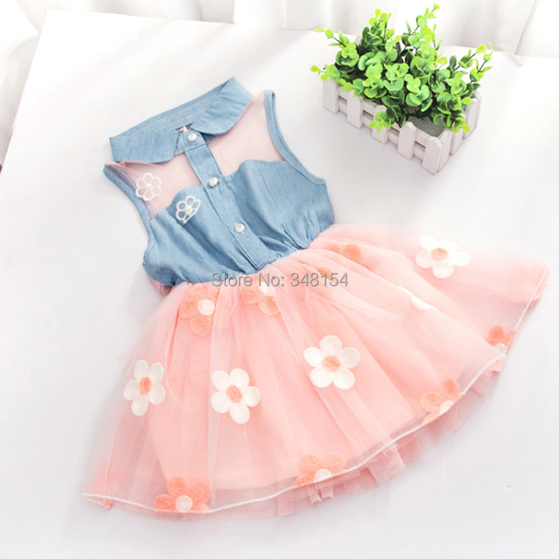 2015 Baby Girls Princess Party Dress Fashion Kids Children Flower Sunmmer Dress Infant Casual Clothing Free