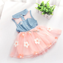 2015 Baby Girls Princess Party Dress Fashion Kids Children Flower Sunmmer Dress Infant Casual Clothing Free Shipping