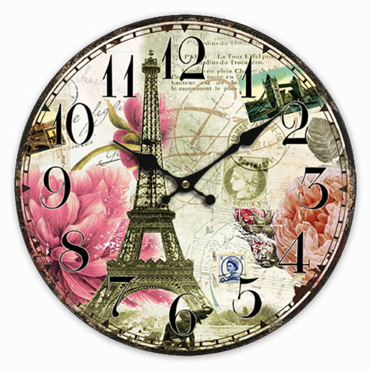 Retro Vintage Style Large Clock French Paris Eiffel Tower Pink Flower Home Decorative Wall Clock Wood 34CM