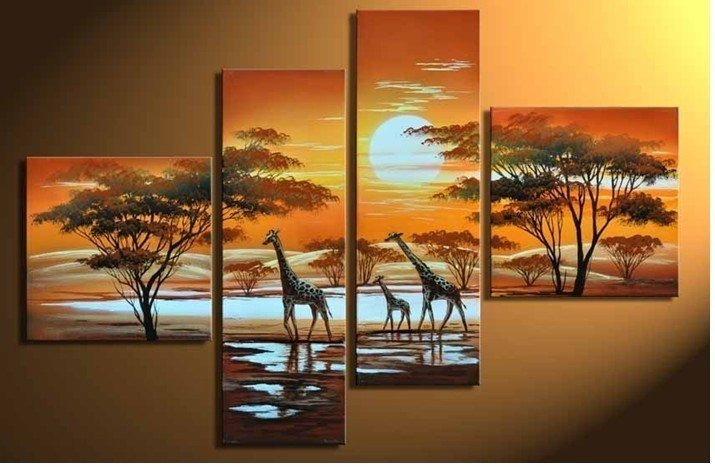 hand-painted wall art The giraffe sun Home Decoration Modern Abstract landscape Oil Painting on canvas Match framework  DY-030