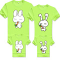 2016 New Summer Cartoon Rabbit Family Matching Outfits Mother Father Children Casual T shirt Parents child