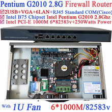 Intrusion detection systems 1U Friewall Barebone PC with Intel Pentium G2010 2.8Ghz 6*1000M 82583v Lan Wayos PFSense ROS support
