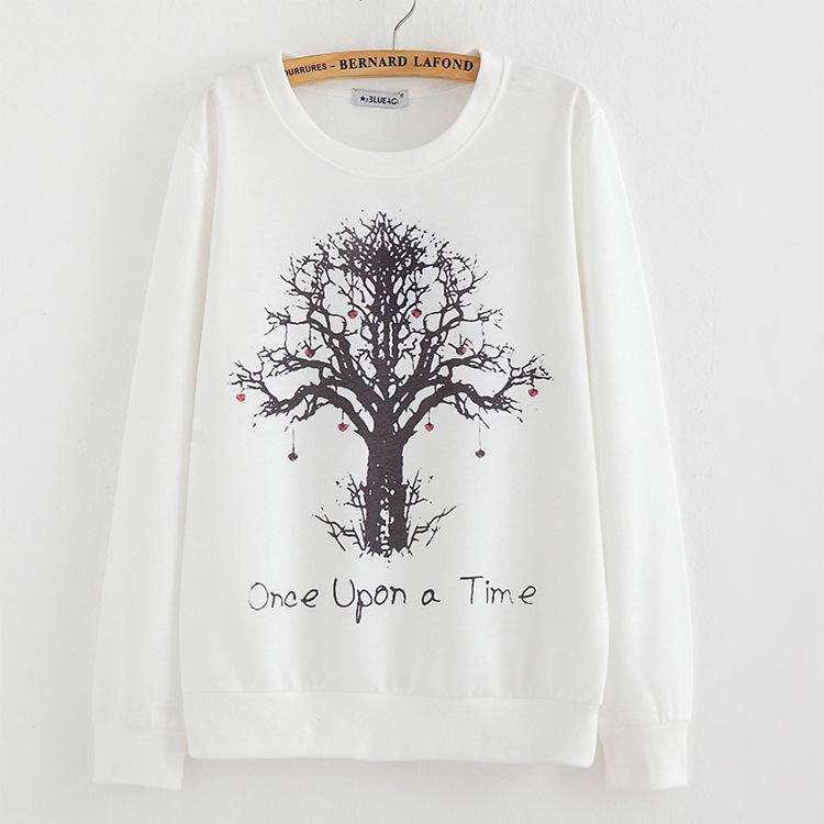 2016 New winter Hoody women Casual hoodies Strawberry tree print thin inside long sleeve o neck