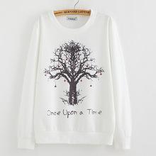 2015 New winter Hoody women Casual hoodies Strawberry tree print thin inside long sleeve o neck letters sweatshirt for women